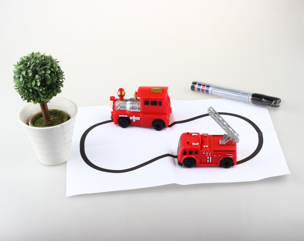 inductive tank car model magical track toys following by line you draw mini vehicle intelligence development kids toy FSWB