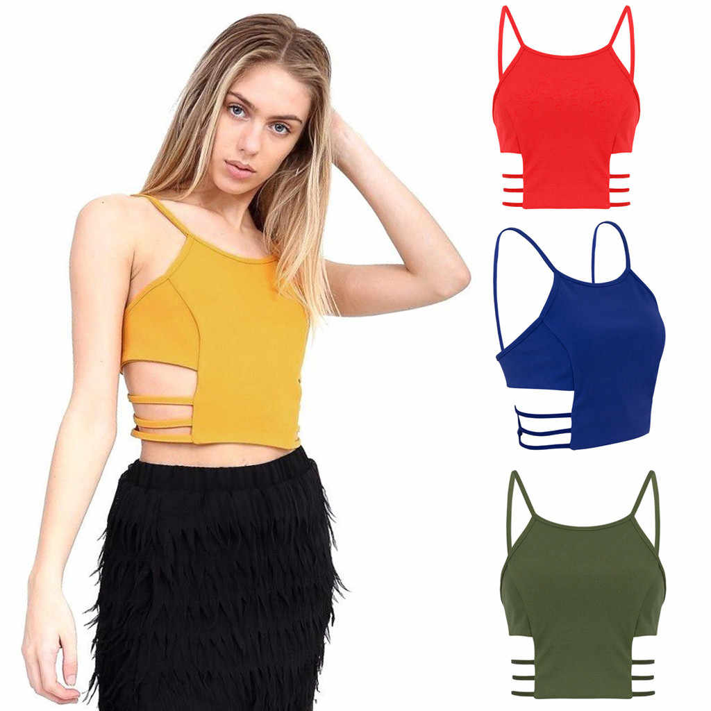 Womens Cut Out Side Crop Top Solid Yellow Blue Ladies Hollow Out Strappy Sleeveless Tank Party Tees Summer Girl's Camisole Tanks