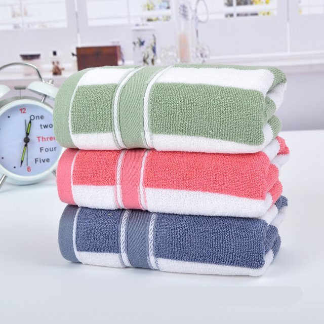 Colorful Stripe Printed 35*75cm 100% Cotton Washing Face Towel Frozen Adult Beach Towel Bathroom Famous Brand Washing Towel