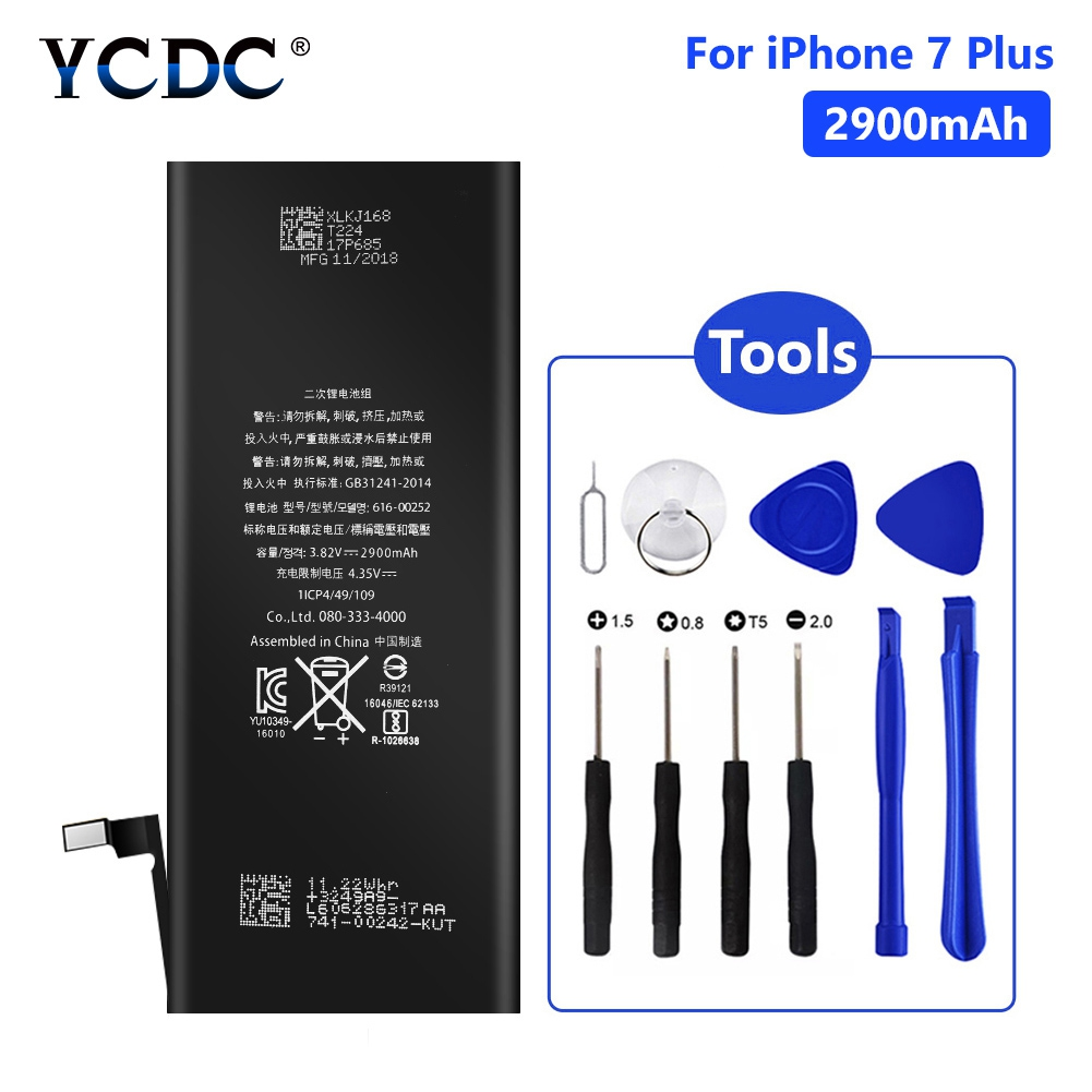 YCDC Lithium Phone Real capacity 3.82V 2900mAh Battery For iPhone 7 Plus 7Plus Rechargeable Bateria Batteries Free Tools