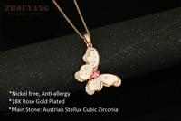 zhouyang zyn041 цветок бабочка ожерелье из розового золота ювелирные изделия способа цвета бесплатно подвеска австрия кристалл оптовая