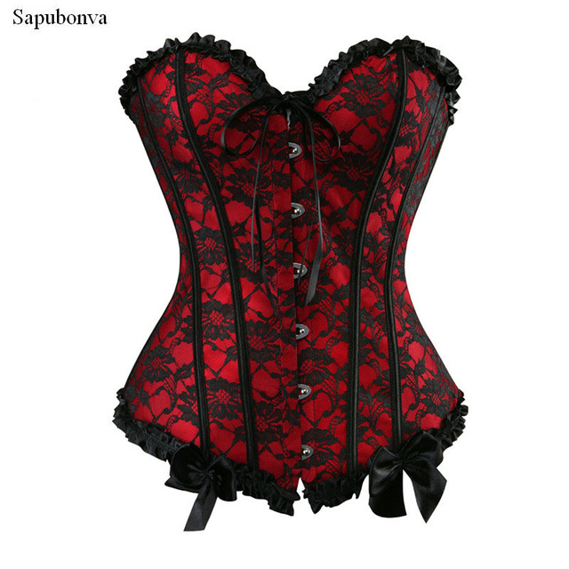 31812d8ac2b Sapubonva sexy red corsets and bustiers vintage lace waist cincher overbust  corset plus size body shaper gothic corselet exotic