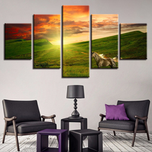 Framework Pictures Vintage Home Decor Paintings On Canvas 5 Panel Sunset Prairie White Horse Posters And Prints The Wall