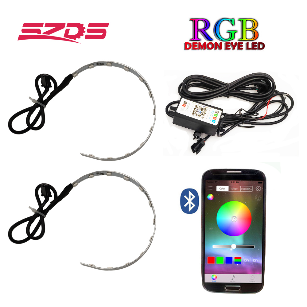 SZDS Auto RGB headlight Projector Led Devil Eye Demon Eye Lamp For Car App Remote Control projector headlamp angles eye-in Car Light Accessories from Automobiles & Motorcycles
