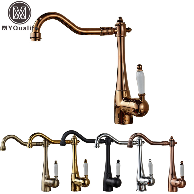 Free Shipping One Hole Swivel Spout Kitchen Sink Faucet Deck Mounted Single Handle Hot and Cold Water Kitchen Mixers цена