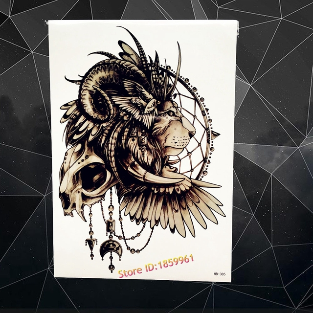 Hot Waterproof Arm Chest Fake Tattoo Sleeve For Men Women Indian Lion King Skull Wing Design Temporary Tattoo Sticker AHB385