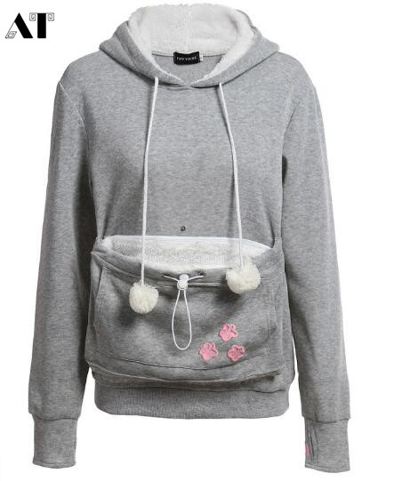 Women Pocket Sweatshirts With  Dog / Cat Pet Hoodies Casual Pullovers