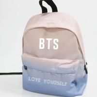 Kpop Home BTS Bangtan Boys Love Youself Same Logo Harajuku Style Unisex Gradient Color Backpack Student
