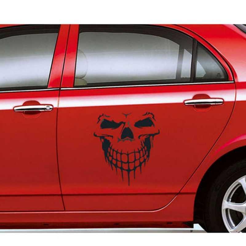 40x36CM calavera cabeza coche pegatinas vinilo reflectante decoración divertida coche accesorios exteriores coche pegatina