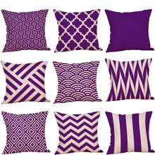 Cushion Cover Decorative Pillow Case Purple Geometric Autumn Sofa Car Cotton Linen Throw Pillowcase Soft Bed Pillow Case 45x45cm(China)