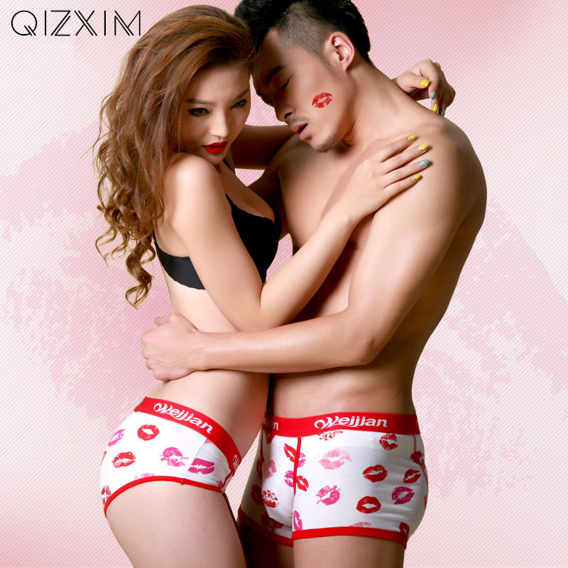 QIZXIM Sexy Red Kiss Lips Couples Underwear lOVERS Panties Women Men Boxers Lip Cotton Lovers Valentines Day