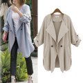 2016 New spring and Autumn Women's Fold Long Sleeve Loose casual Lapel Coat Jacket Outwear Casacos Femininos Free shipping
