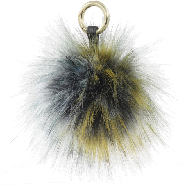f81110fcd4 Furling 1pc Vintage 13CM Gray Yellow Multicolor Leather Ring Faux Fur Pom  Pom Ball Women Bag