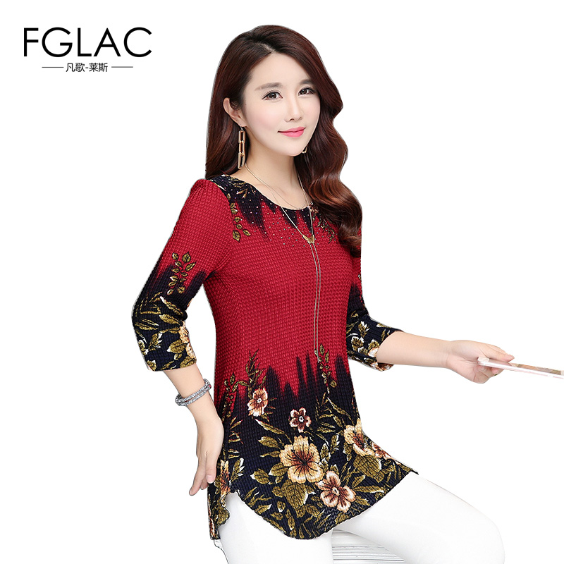 FGLAC 4XL Women   blouses     shirt   Fashion Casual loose printed knitted   blouses   2018 Summer plus size women tops