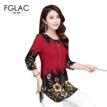 FGLAC Женщины блузки рубашка Мода Повседневная свободные печатный шифон блузки 2017 Лето плюс размер женщины топы