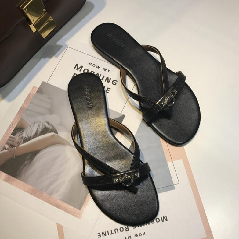 Newest Arrival Thong Sandals Ladies Luxury White yellow Slippers Summer Flip Flops Metal Buckle Comfy Flats Femme Pantoufle in Slippers from Shoes