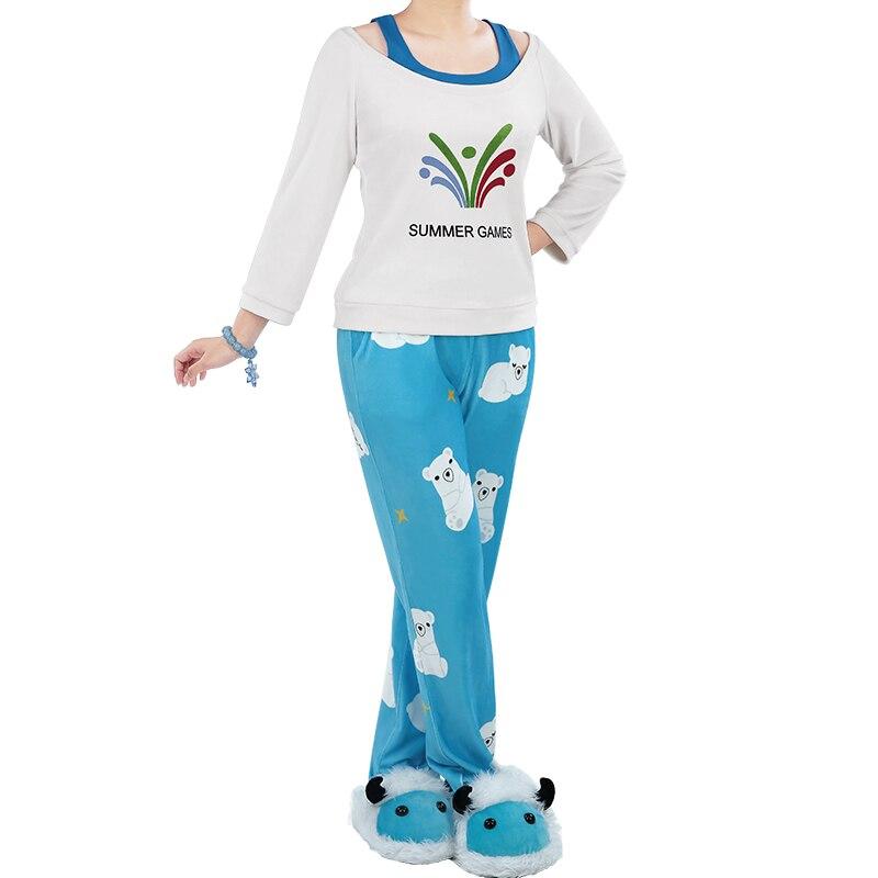 2017 Kawaii Mei Jeux D'été Pull CG Debout Cosplay Pyjama Meiling Zhou Costume Mei Ours Polaire Pantalon Avec bijoux