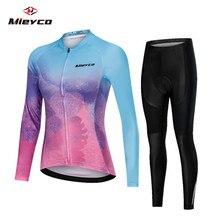 Cycling Jersey and Bib Pants Set Long Sleeve Cycling Clothing Women MTB Bike Sport Cycling Wear Road Bicycle Clothes Full 2019