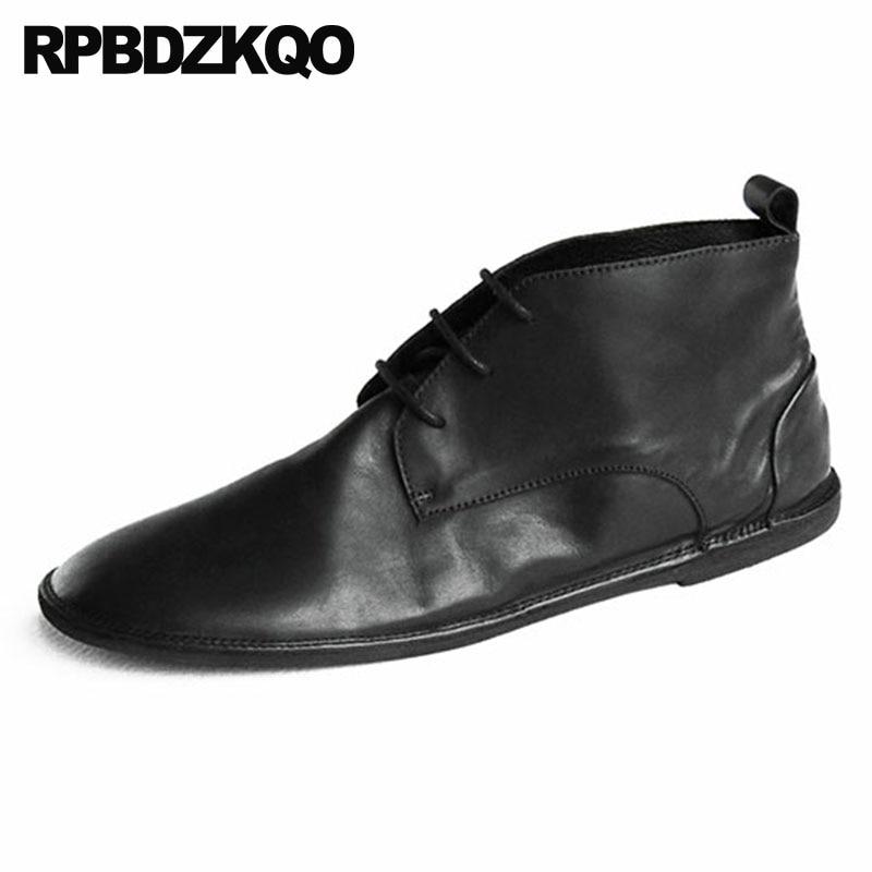 Rétro Automne Confortable Chaussons khaki De Chukka 2018 Hommes Fleur En Chaussures Vintage Cuir Noir Courte Haute Lacent Bottes Qualité Véritable Pleine N0vnwPmy8O