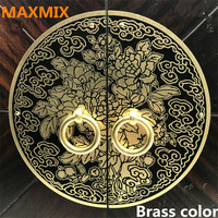 11cm 14cm 18cm 24mm Chinese Antique Cupboard Handle Furniture Pure Copper Round Bookcase Wardrobe Door Cabinet