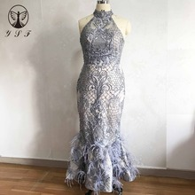 2019 Vintage Evening Dresses Silver High Collar Beaded Pearls Sleeveless Ankle Length Feather Mermaid Vestidos De Fiesta