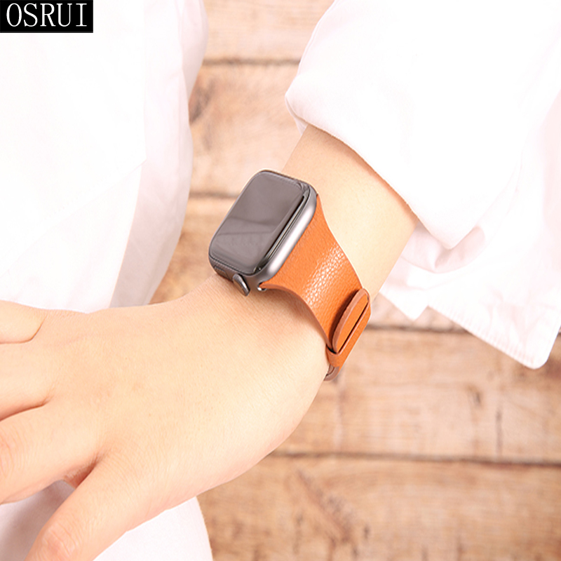 Strap for Apple Watch 4 Band 44mm correa iwatch 42mm 38mm 40mm series 3 2 leather loop bracelet pulseira apple watch accessories in Watchbands from Watches
