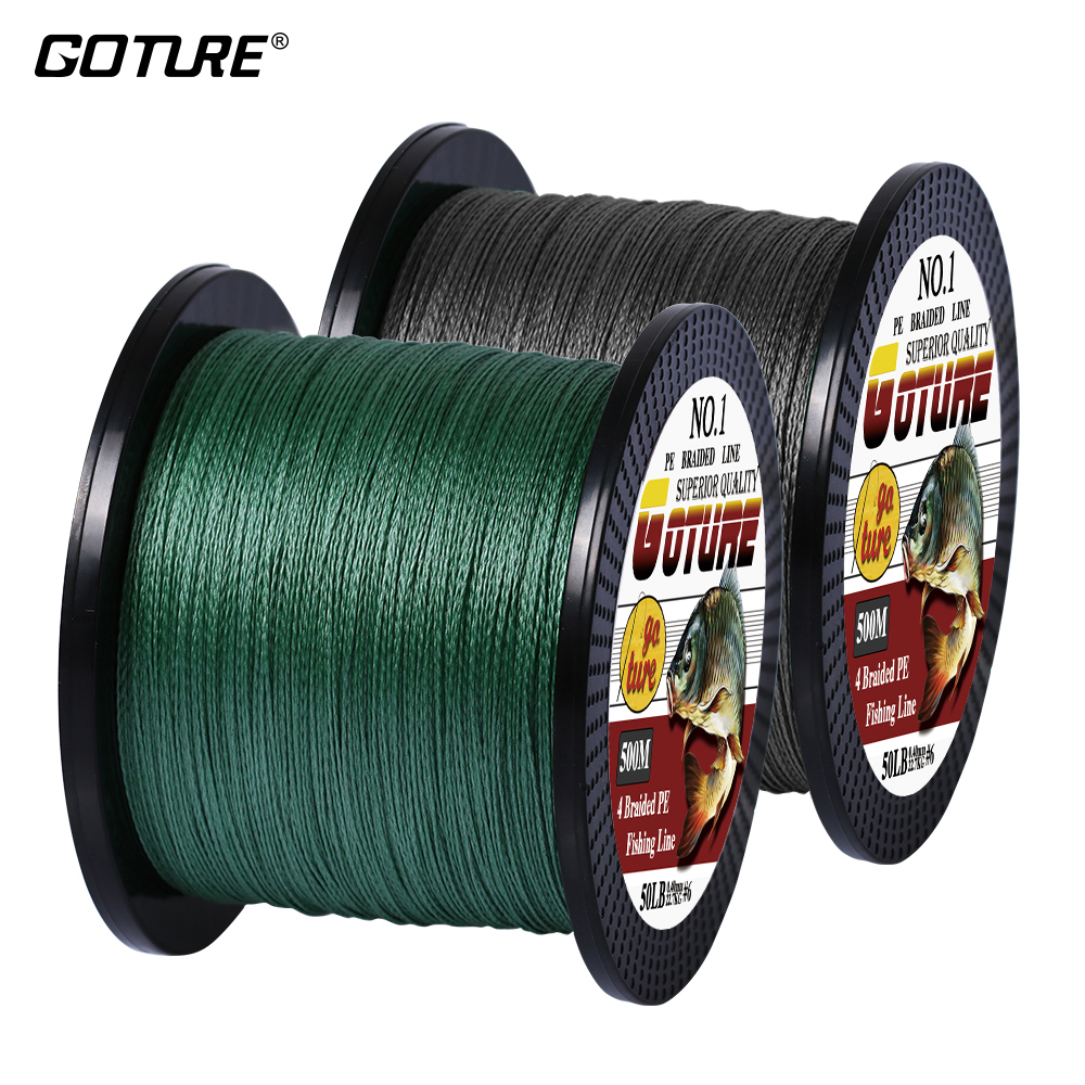 Goture 500M PE Braided Fishing Line 4 Strands Super Strong Multifilament Fishing Lines 12-80LB
