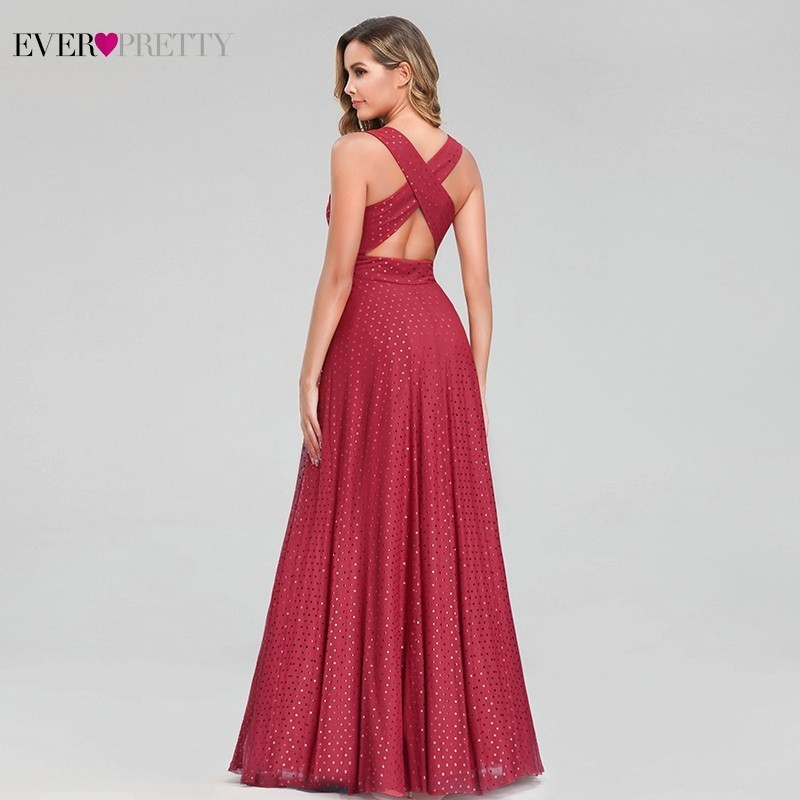 Image 3 - Ever Pretty Sexy Red Prom Dresses V Neck Sleeveless Elegant Dot Evening Party Gowns For Womens EZ07508RD Vestidos Gala Largos-in Prom Dresses from Weddings & Events