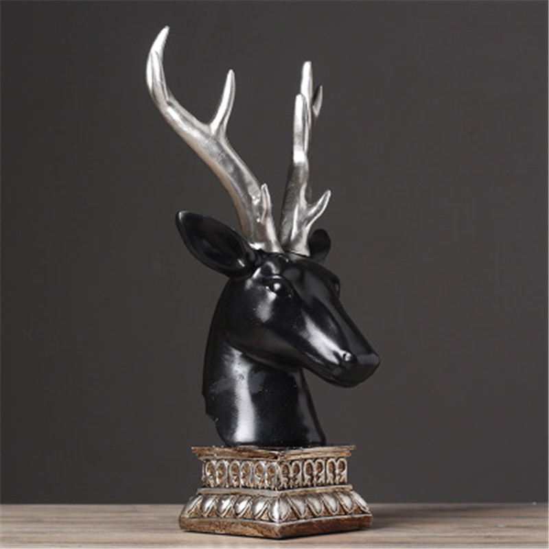 European Style Money Drawing Black Deer Head Home Furnishing Articles Soft Adornment Colophony Crafts Decoration G795 renaissance poet dramatist william shakespeare head sculpture european style celebrity sculpture colophony crafts g1001