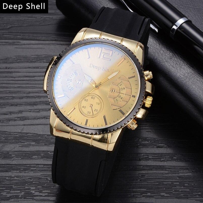 Deepshell New Men Watch Top Brand Luxury Leather Engraved Dial Military Watches Clock Male Erkek Kol Saati Relogios s13