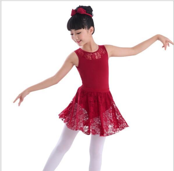 Enfants Filles De Danse De Ballet vêtements Gymnastique Justaucorps  Dentelle Jupe Tutu Sangle Robe Coton Lycra Dentelle Noir Réservoir De Danse  Justaucorps ... 6e54e019b05