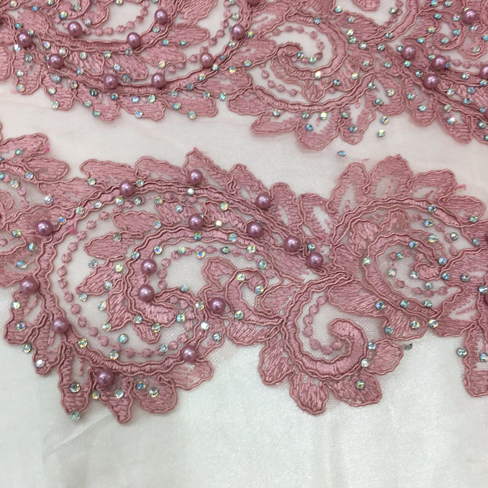 Aliexpress.com   Buy Blush pink lace fabric beaded diamonds rhinestone  embroideried tulle lace high quality 2018 from Reliable Lace suppliers on  Aileengreat ... a234481fa3f6
