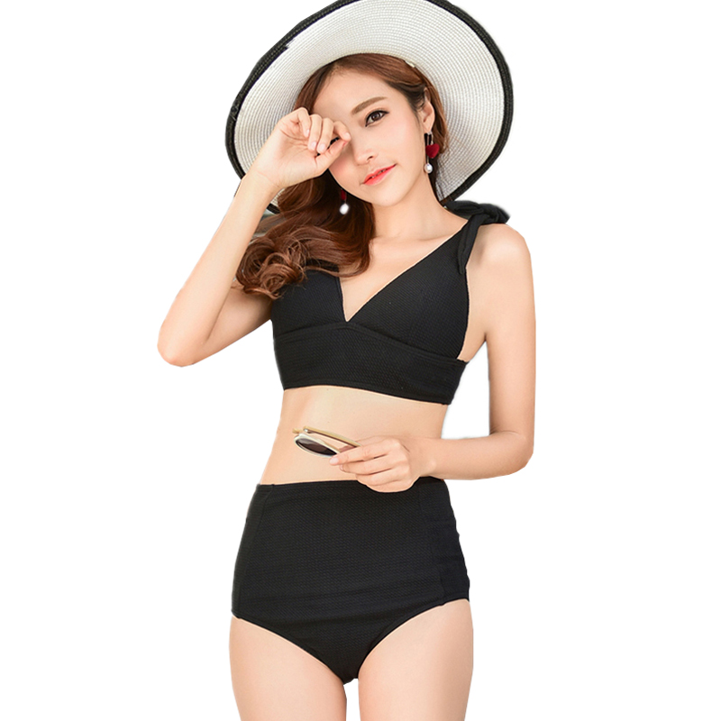 Brand Bikinis Women Solid Sexy Swimsuit Deep V Top High Waist Bikini Hot Knot Beautiful Ladies Swimwear Bathing Suit Beachwear