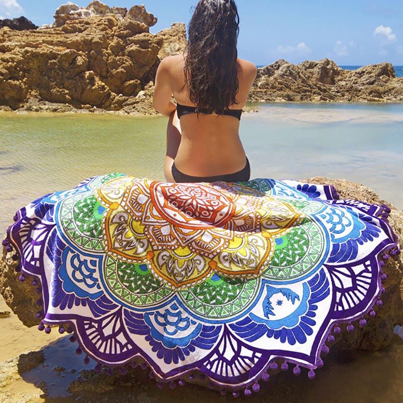 Beach Towel Tassel Yoga Mat Carpet Tapete Doormat Tapestry Indian Mandala Blankets Bathroom Carpet Camping Mattress 7 Color