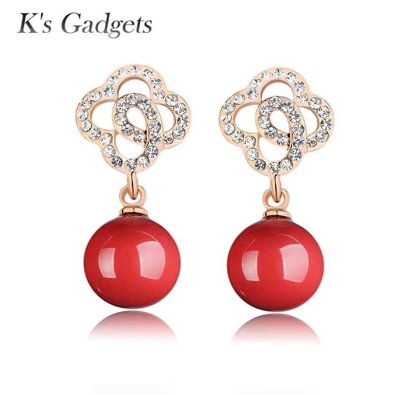 Fashion Earrings Round Ball Red Artificial Coral Rose Gold Color Crystal Rhinestone Hollow Flowers Drop Erring Women ...