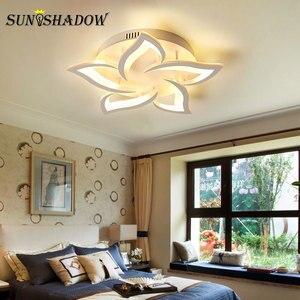 Image 5 - Luminarias de techo Led modernas para sala de estar, dormitorio, comedor, lámpara de techo de araña de acrílico blanco