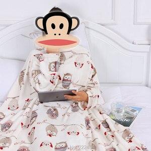 Image 1 - Dikke Fleece Gooi Deken Met Mouwen Volwassen Cozy Reizen Plaid Warm Pluche Winter Deken Voor Sofa Couette De Lit Adulte