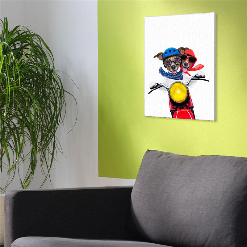 Pop Art Poster Indoor Dog Riding Motorcycle Fashion Quotation ...