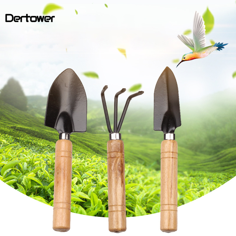 3pcs Mini GardenSets Mini Shovel Rake Spade Erramientas Bonsai Tools Set Wooden Handle Metal Head For Flowers Potted Plant