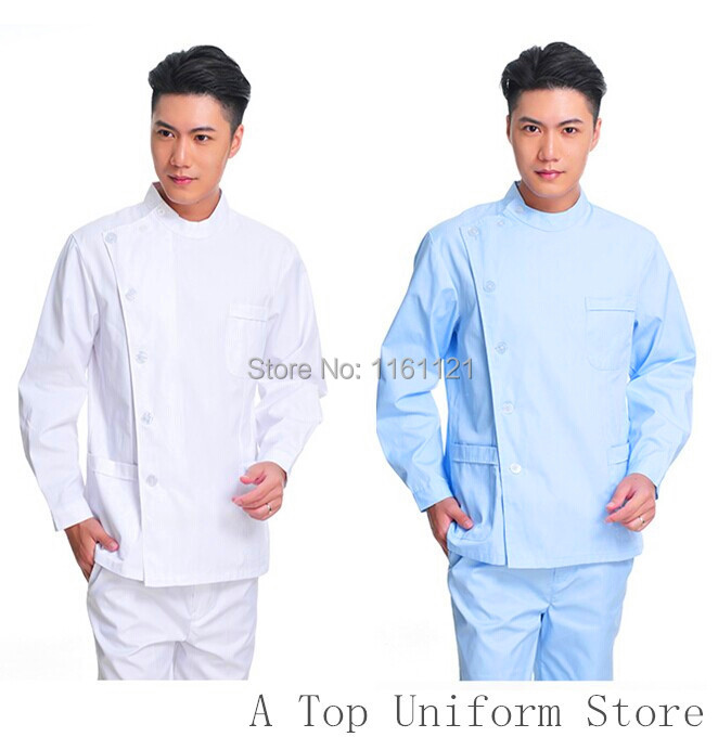 2018 Surgical Cap Hospital Men's Winter Long Sleeve Dentist Working Uniform Set, Doctor Overcoat Pants Set For Clinic Free Ship