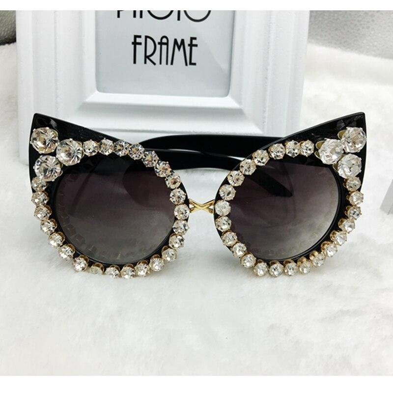 2017 Femmes De Luxe lunettes de Soleil Marque Designer De Luxe Strass Sexy Chat Yeux lunettes de Soleil Vintage Shades Lunettes gafas de sol