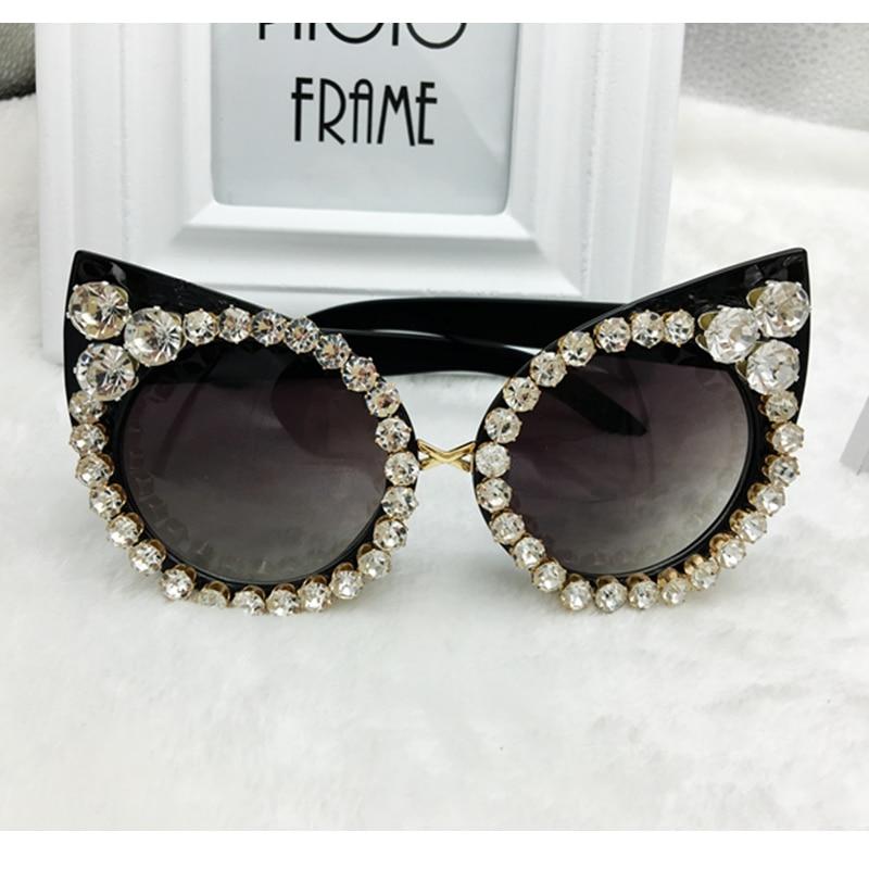 New 2016 Women Luxury Brand font b Sunglasses b font Jewelry Rhinestone Decoration Cat Eyes font