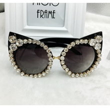 New 2016 Women Luxury Brand Sunglasses Jewelry Rhinestone Decoration Cat Eyes Sunglasses Vintage Shades Eyewear gafas de sol