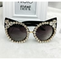 New 2016 Women Luxury Brand Sunglasses Jewelry Rhinestone Decoration Cat Eyes Sunglasses Vintage Shades Eyewear Gafas