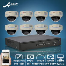 Plug And Play 8CH NVR Surveillance Kit 1080P Full HD POE IP Camera Vandalproof Dome IR Home Security CCTV System 3TB HDD