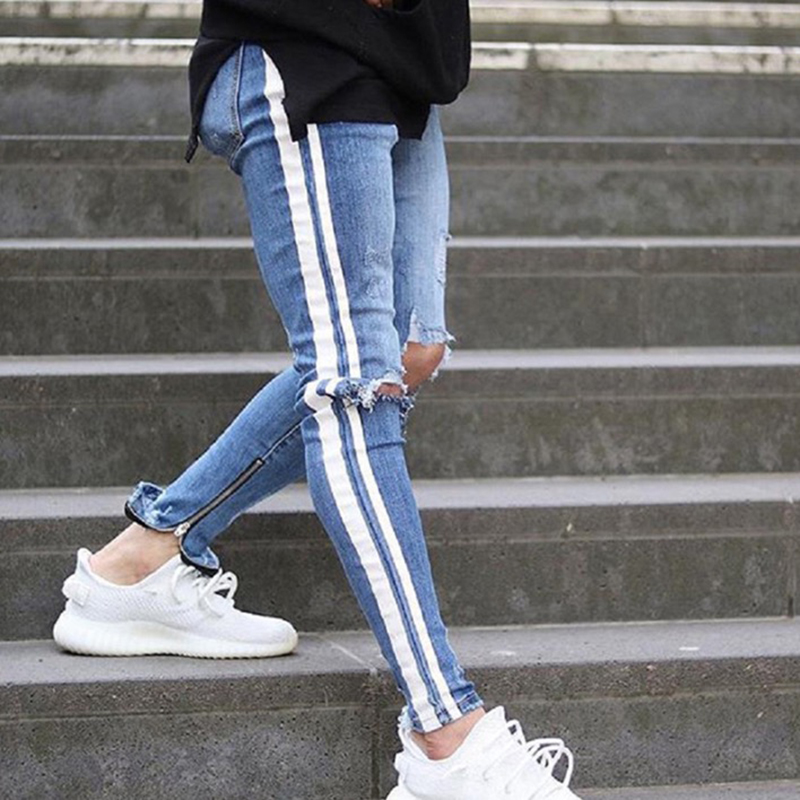 Men denim ripped hole Jeans side striped line Jeans Fashion Hip hop Skinny pencil Jeans For Men stretch ankle zipper black jeans