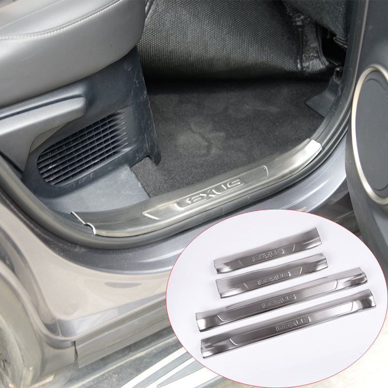 4 x For Lexus NX NX200 NX300 2016 Car-Styling 304 Stainless Steel Inside Door Sill Scuff Threshold Plate Car Accessories for lexus es250 es300 es350 stainless steel door sill scuff plate step protector cover
