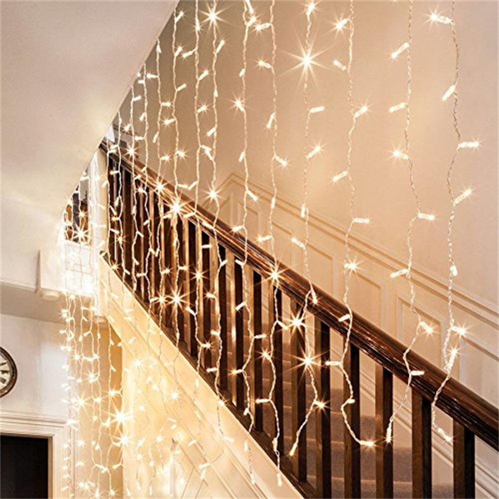 Led Light Curtain Icicle Lights 300led 98ft98ft Christmas Tree Wiring Diagram String Fairy Wedding For Outdoor Walldecorations In From