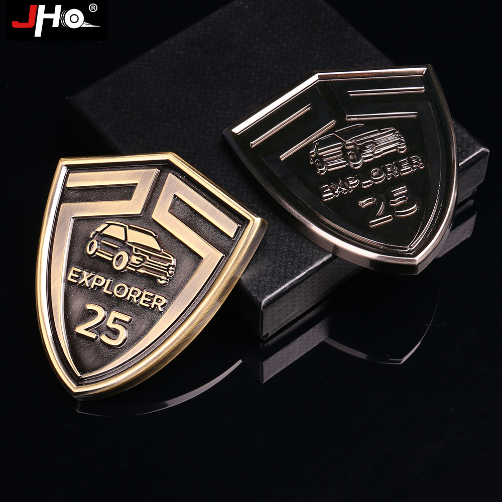 JHO Hood Logo Sticker 25th Anniversary 3D Metal Grille Emblem for New Ford Explorer 2016 Grill