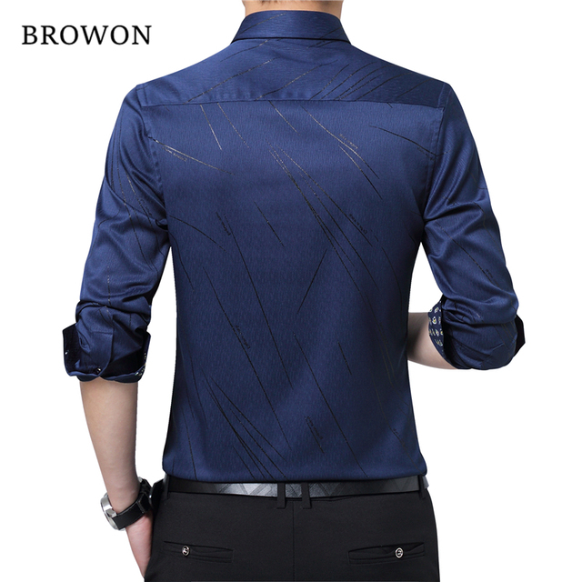 BROWON New Arrival Plus Size Mens Formal Shirts Meteor Print Long Sleeve Blouse Shirts for Men M - 5XL Imported Shirt Men 2